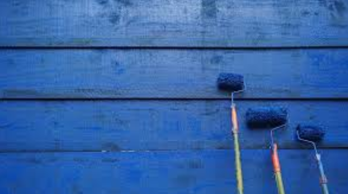 covering lead paint with blue paint